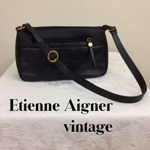 Vintage Etienne Aigner, Black Leather Shoulder Bag